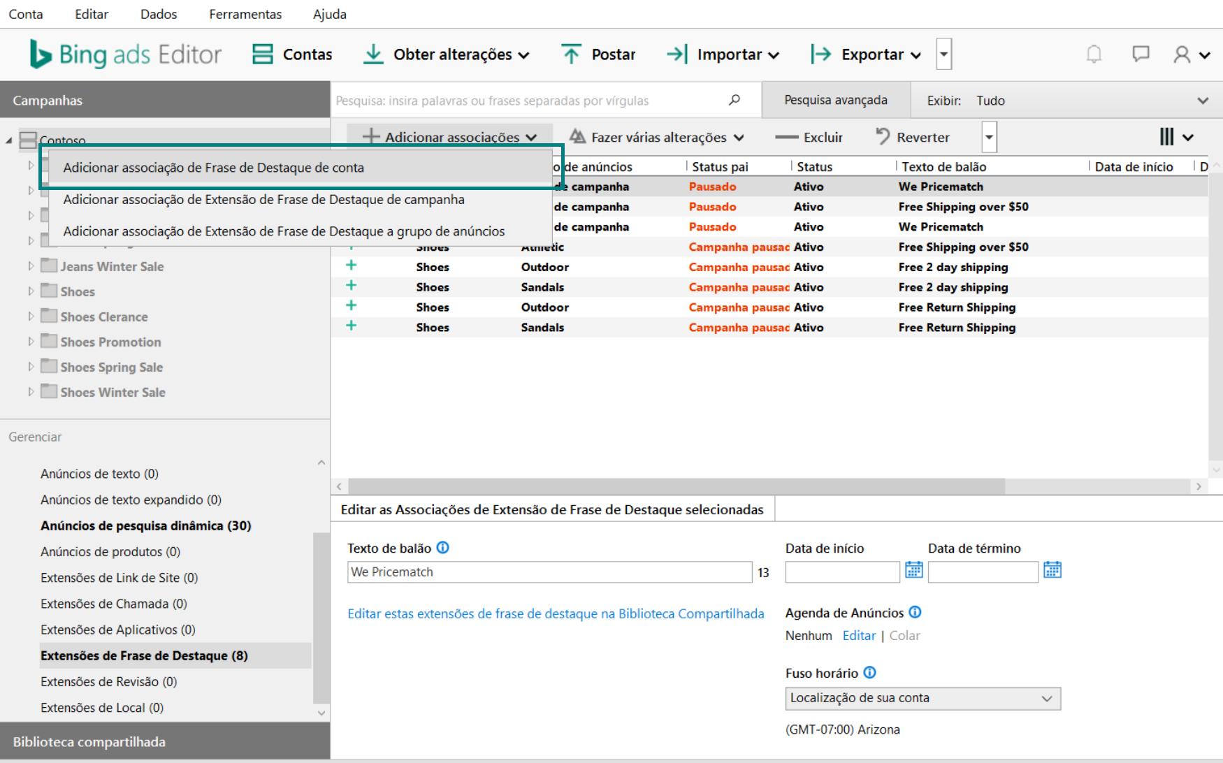 Captura de tela do Bing Ads Editor exibindo a seleção de Adicionar associação de Frase de Destaque de conta