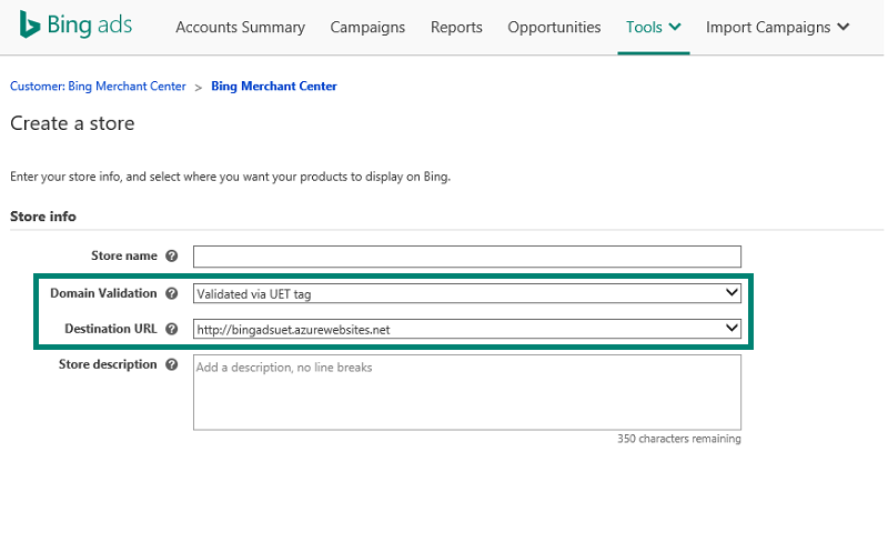 Screenshot of Bing Ads Store domain validation
