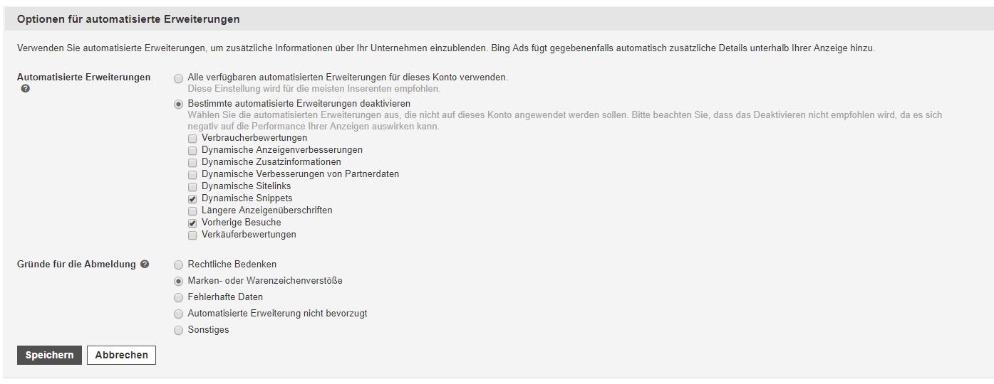 Kündigungsoptionen für automatisierte Erweiterungen in Bing Ads
