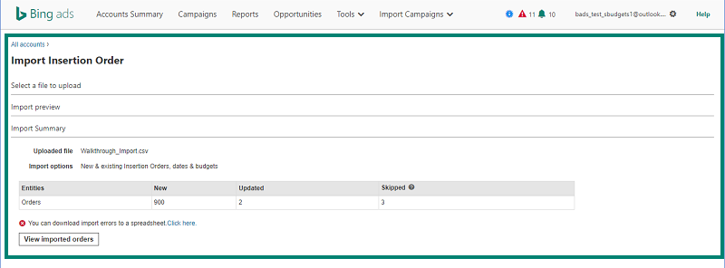 import insertion order area in Bing Ads tool screenshot