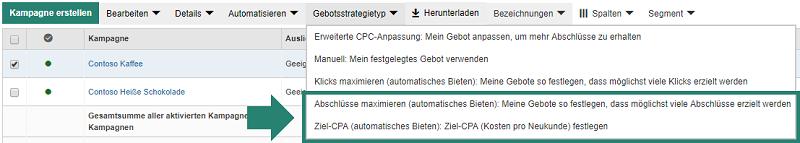 """Auswahl von """"Abschlüsse maximieren"""" und """"Ziel-CPA"""" im Bing Ads-Tool"""