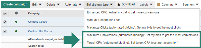 Maximize conversions and Target CPA selections in Bing Ads Tool