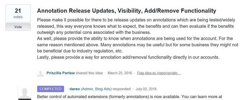 annotation release request in UserVoice Forum