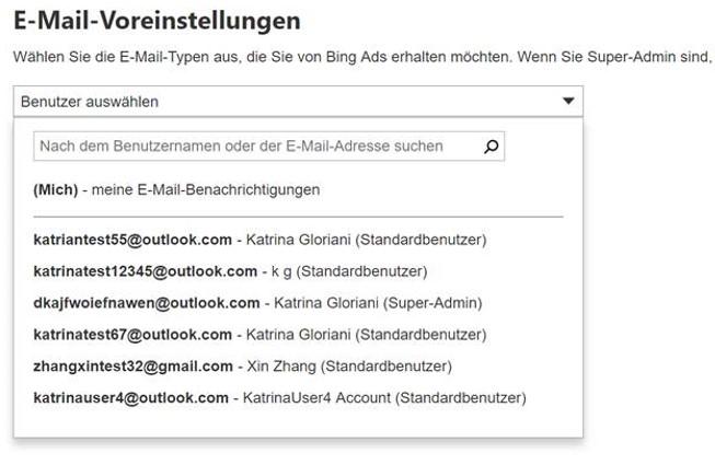 Screenshot Einstellungen für E-Mail-Benachrichtigungen in Bing Ads-Konto