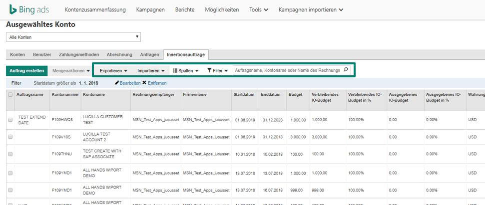 Screenshot Funktion für mehrere Insertionsaufträge