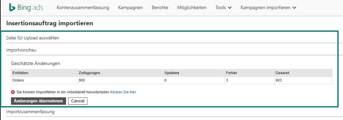 Screenshot Importieren des Bereichs Insertionsaufträge in Bing Ads-Tool