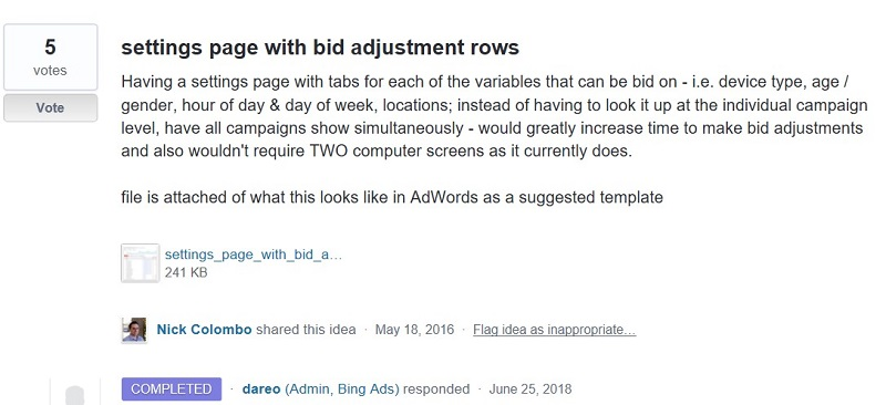 settings page with bid adjustment rows request in UserVoice Forum