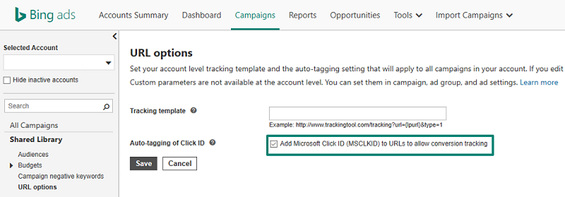 adding Microsoft Click ID to allow conversion tracking screenshot