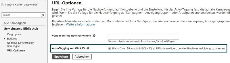 Screenshot zum Hinzufügen der Microsoft Click ID für die Abschlussverfolgung