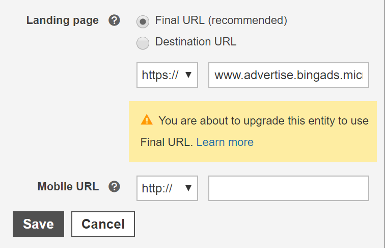 Image of the Final URL and Final URL warning box with radio button.