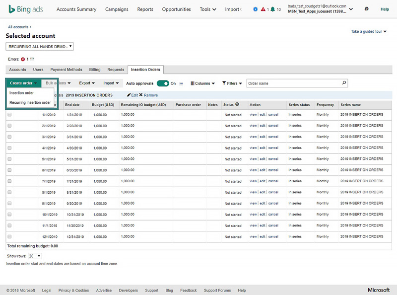 Product view of Insertion Orders tab
