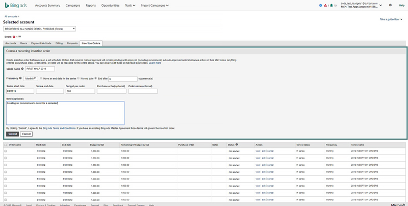 Product view of creating a recurring insertion order