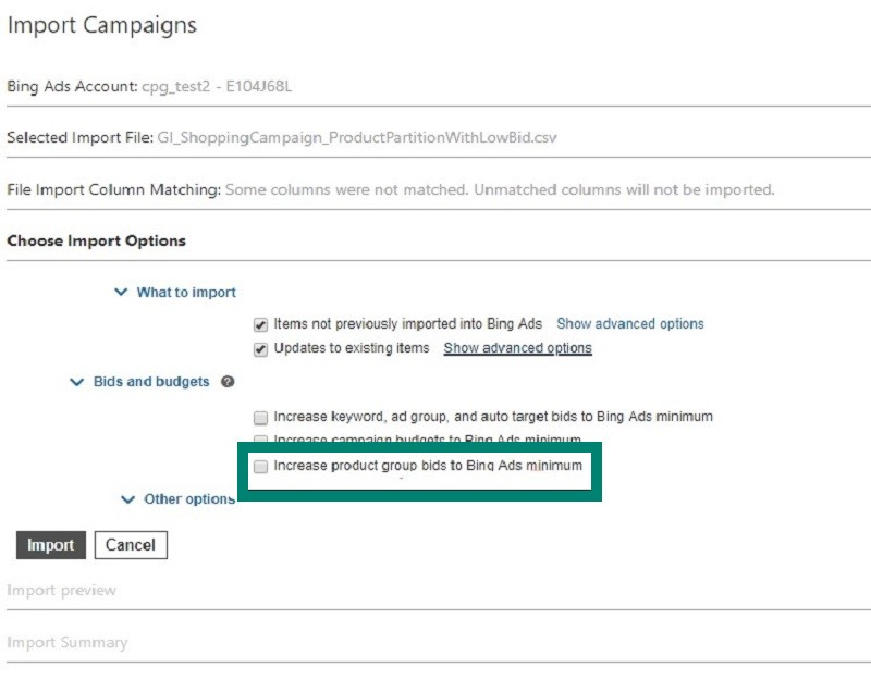 Product view of Import Campaigns screen