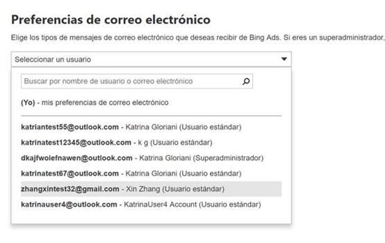 captura de pantalla de configuración de notificación por correo electrónico en Bing Ads