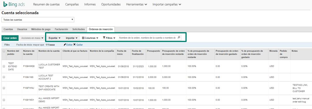 captura de pantalla de la capacidad masiva para órdenes de inserción