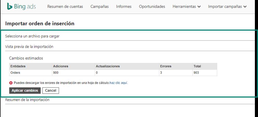 captura de pantalla del área de importación de órdenes de inserción en la herramienta Bing Ads