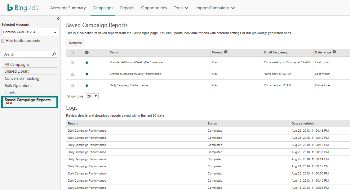 Picture of the Campaigns tab and within that a new Saved Campaign Reports page with a record calle Daily Logs that show when your reports are completed.