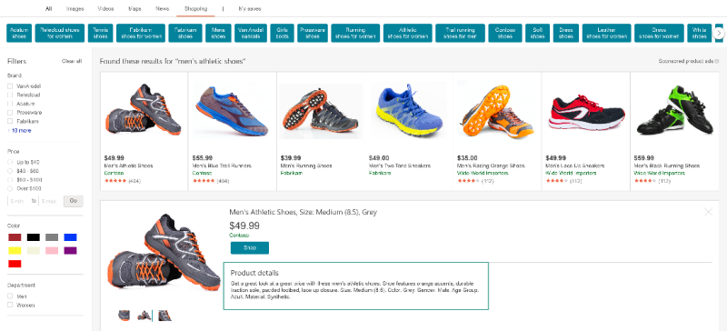 Product view of product descriptions on Bing Shopping page