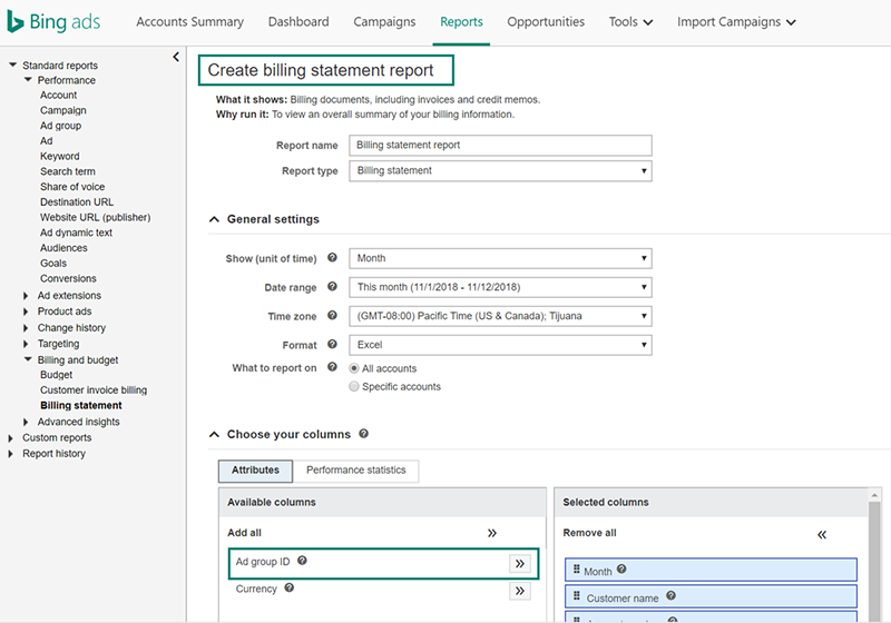 Product view of Bing Ads Create billing statement report screen
