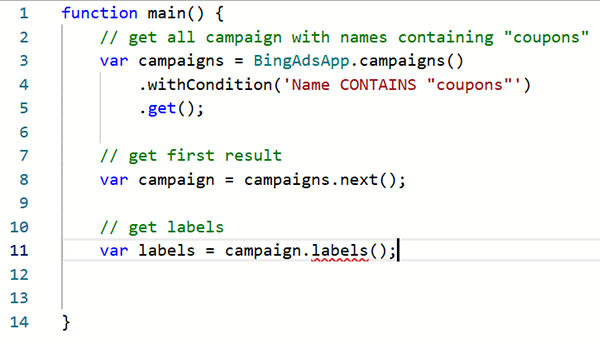 Product view of Bing Ads script example