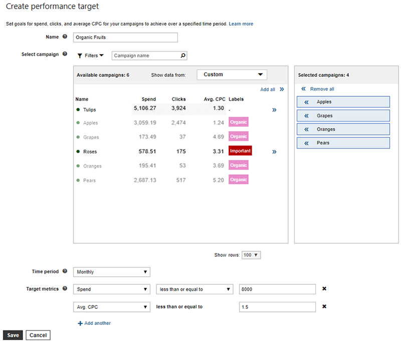 Product view of Bing Ads Create performance target screen