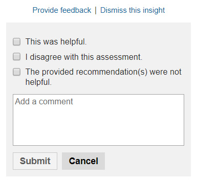 Product view of performance insights feedback submission form.