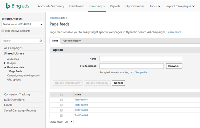 Product view of Bing Ads page feeds upload interface.