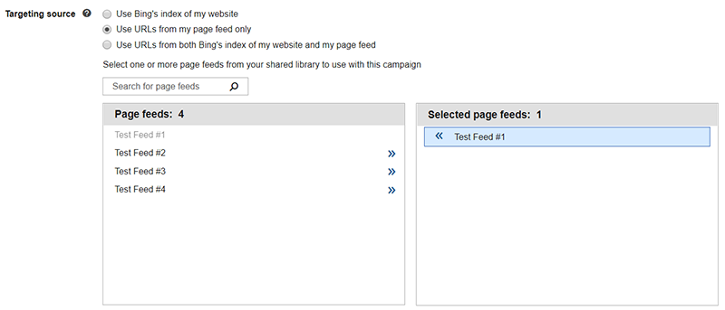 Product view of Bing Ads targeting source settings.