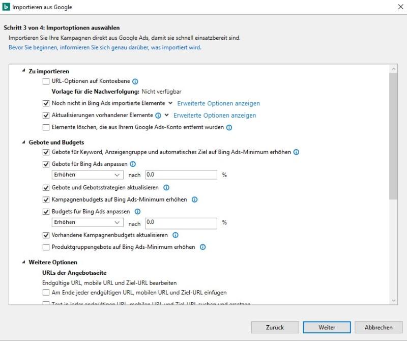 Produktansicht der Optionen zum Importieren von GoogleAds in Bing Ads Editor.