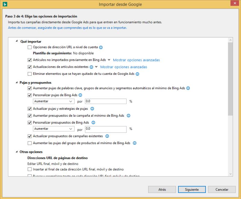 Vista de producto de las opciones de importación de Google Ads en Bing Ads Editor.