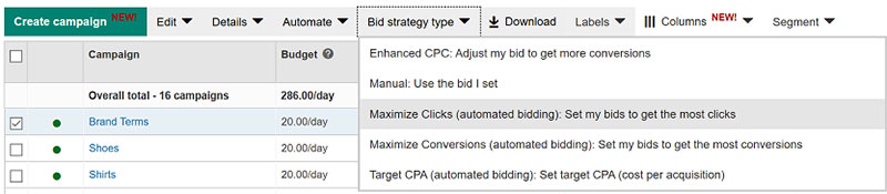 Product view of Campaign tab, with Bid strategy type tab selected.