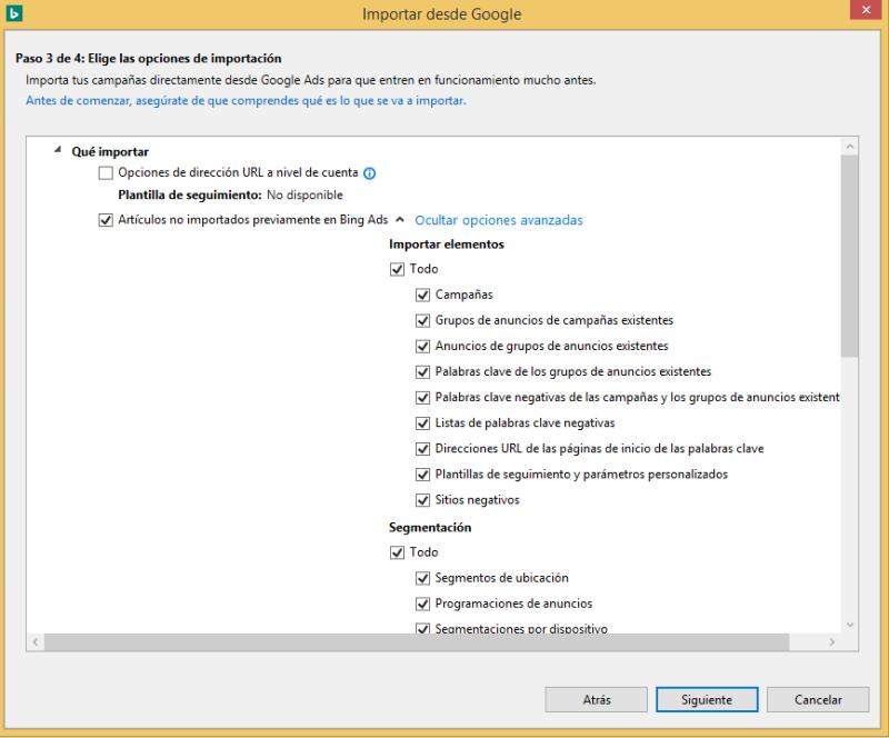 Vista de producto de las casillas de opciones de importación de Google Ads en Bing Ads Editor.