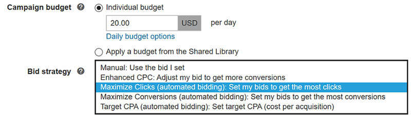 Product view of campaign settings, with Bid strategy list of options.