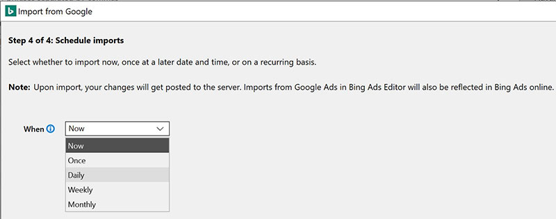 Product view of Bing Ads Editor Google Ads schedule imports dropdown.