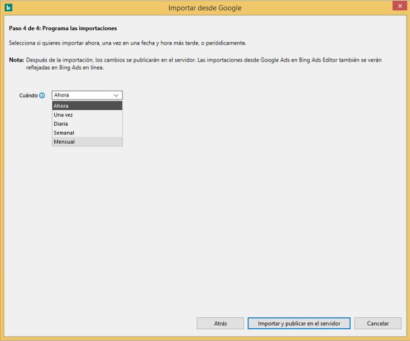 Vista de producto del menú desplegable de programación de las importaciones de Google Ads en Bing Ads Editor.