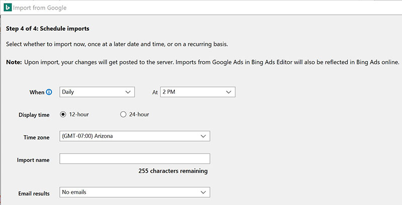 Product view of Bing Ads Editor Google Ads schedule imports dropdown hours selection.