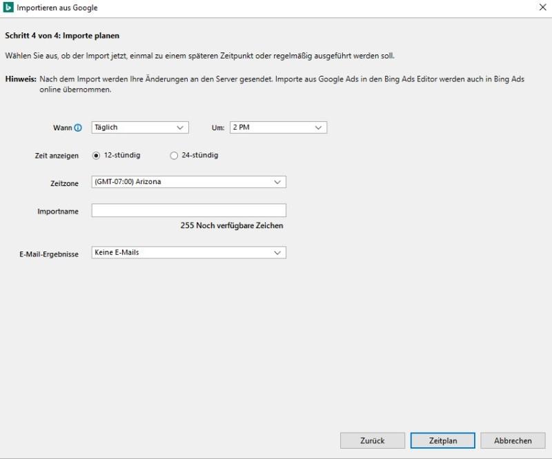 Produktansicht des Dropdownfelds zur Auswahl der Uhrzeit für den Import von Google Ads in Bing Ads Editor.