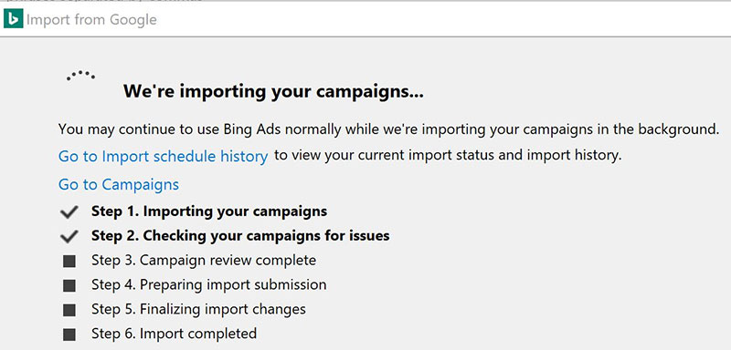 Product view of Bing Ads Editor Google Ads import tool, import progress steps.