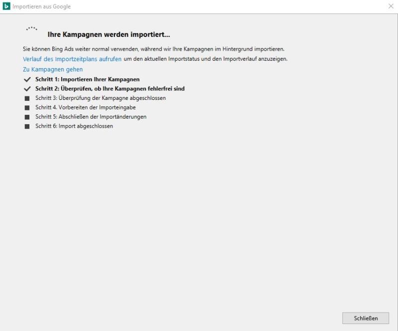 Produktansicht des Tools zum Importieren von GoogleAds in Bing Ads Editor, Fortschritt der Importschritte.