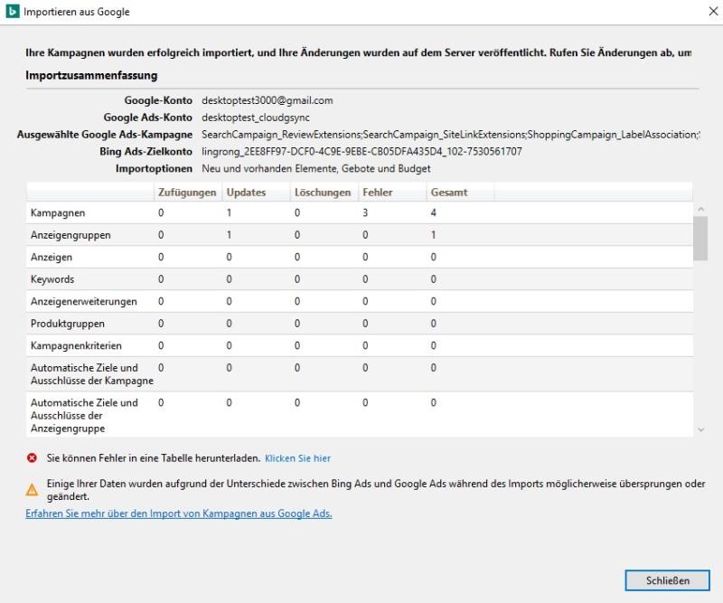 Produktansicht des Tools zum Importieren von Google Ads in Bing Ads Editor, Tabelle mit der Importzusammenfassung.