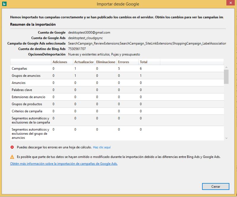 Vista de producto de la herramienta de importación de Google Ads en Bing Ads Editor y la tabla de resumen de la importación.
