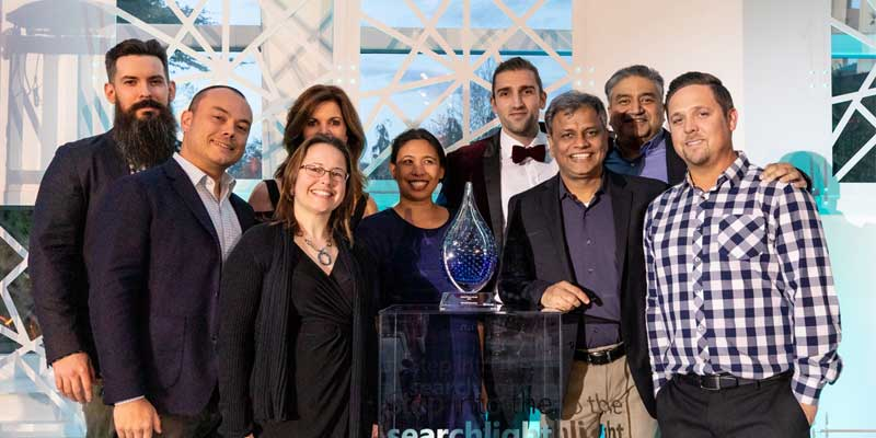 The Adobe Advertising Cloud team receives their Microsoft Advertising Global Partner of the Year Award.
