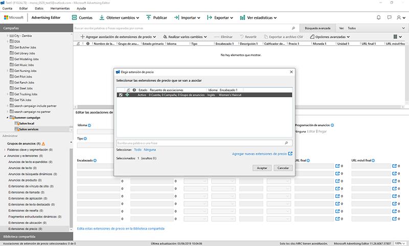 Vista de producto de la sección Campañas de Microsoft Advertising Editor, con la ventana de diálogo Extensiones de precio.