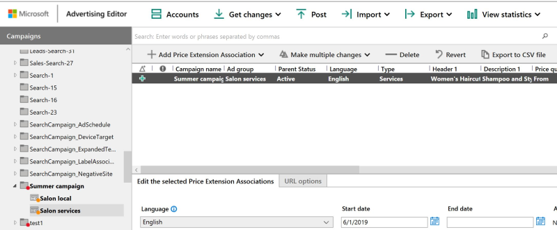 Product view of Microsoft Advertising Editor campaigns, with associated Price Extensions.