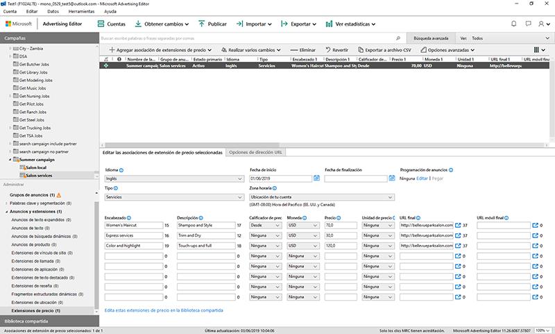 Vista de producto de las campañas del Microsoft Advertising Editor, con la extensiones de precio asociadas.