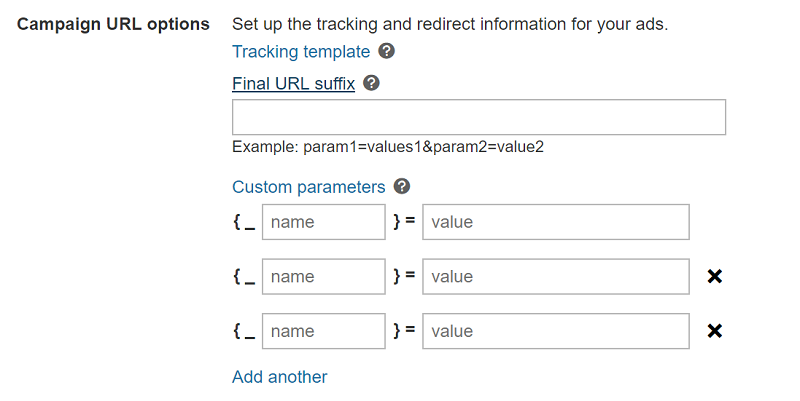 Product view of Final URL suffix field in Campaign URL options, to enter landing page parameters.