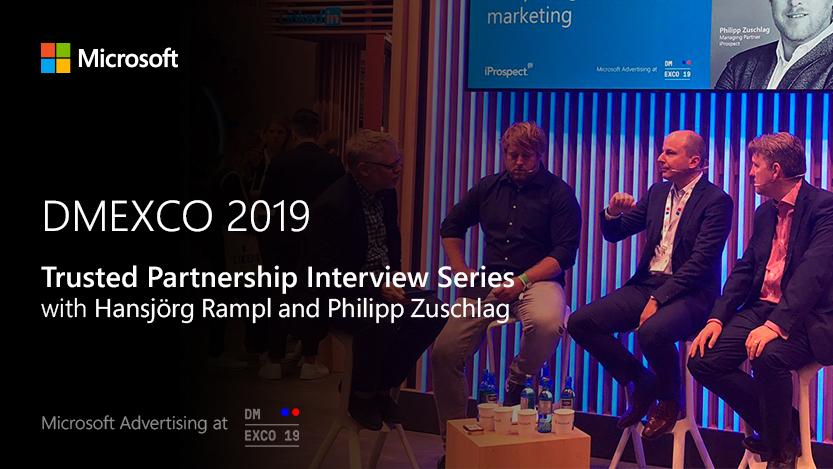 Jon Burkhart führt ein Interview mit iProspect auf der MicrosoftStage bei der DMEXCO2019