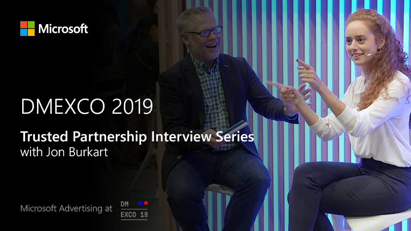 "Jon Burkhart moderiert die Interviewreihe ""Trusted Partnership Interview Series"" auf der Microsoft Stage bei der DMEXCO 2019"
