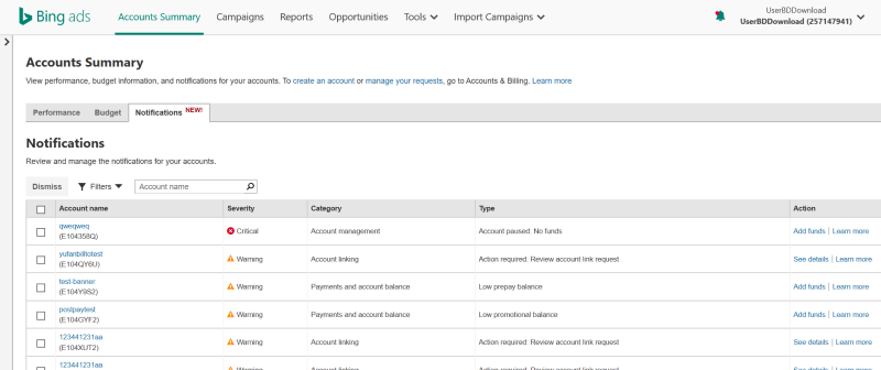 Product view of the notifications grid tab on the accounts summary page.