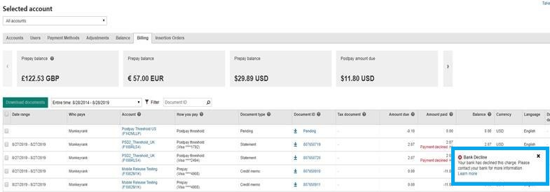 Product view of the billing tab, displaying information about payment status.